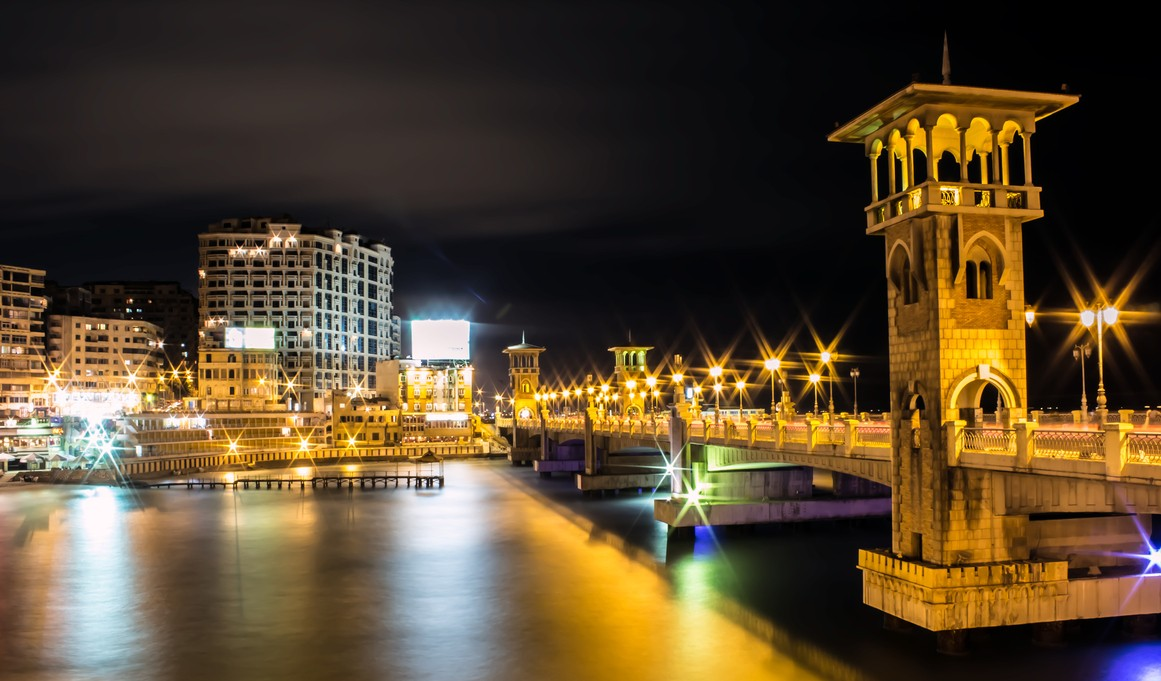 Alexandria Corniche at night