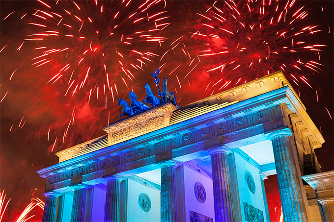 Celebrating New Year's Eve around Brandenburg Gate, Berlin
